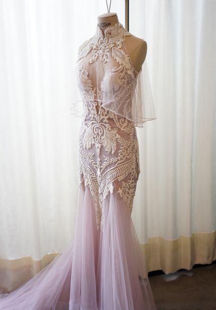 Embellished Mandarin Collar Mermaid Gown