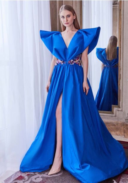 Sculptural Blue Slit Gown