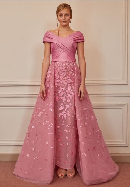 Pleated Pink Tulle Gown