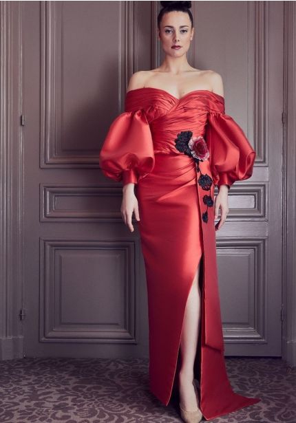 Draped Gown With Puffed Sleeves