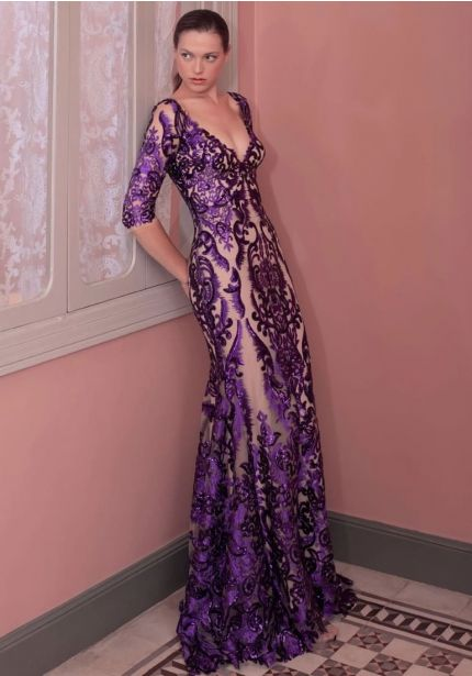 Embroidered Tulle Gown With Low Back