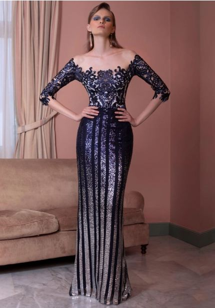 Sequined Navy Blue Gown