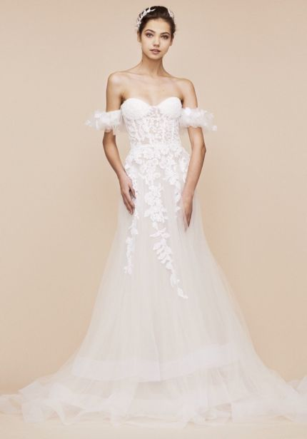 Embellished Ruffle Sleeves Wedding Dress