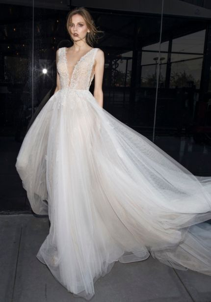 Beaded Flowing Tulle Wedding Dress
