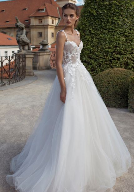 Floral Embroidered Tulle Ball Gown