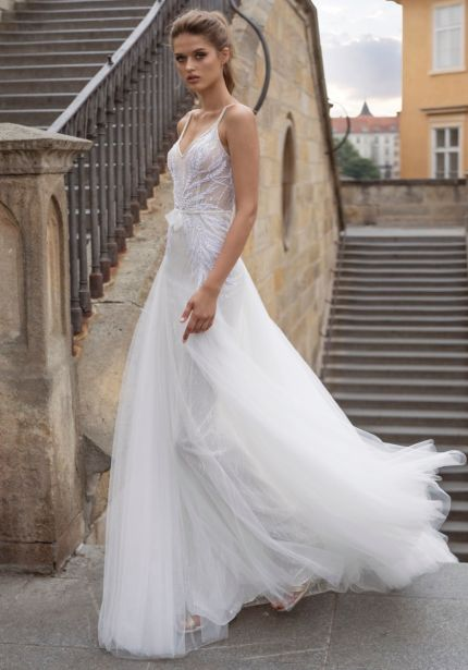 Embroidered Tulle Wedding Dress with Open Back