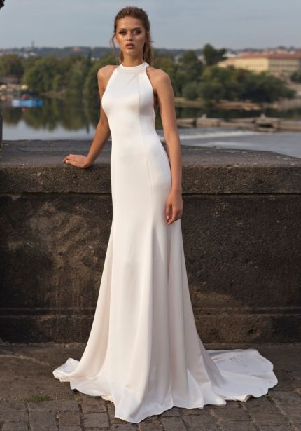 Crepe Wedding Dress with Ribbon Back