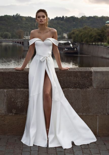 Crepe Wedding Dress with High Slit