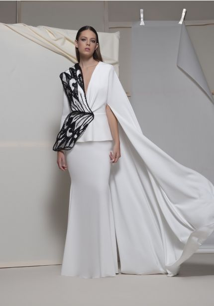 Beaded Black/White Gown