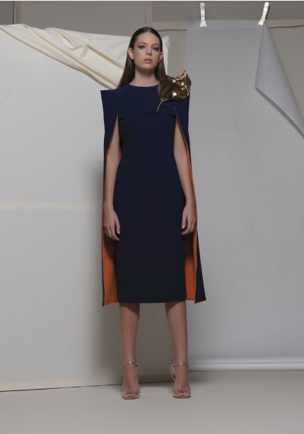 Navy Blue Cocktail Dress with Cape