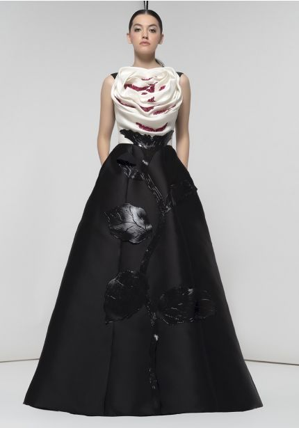 Sculpted Rose Black/White Gown