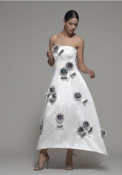 Floral Motifs High-Low Gown