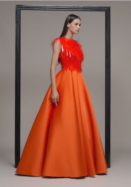 Satin Ball Gown With Fringes