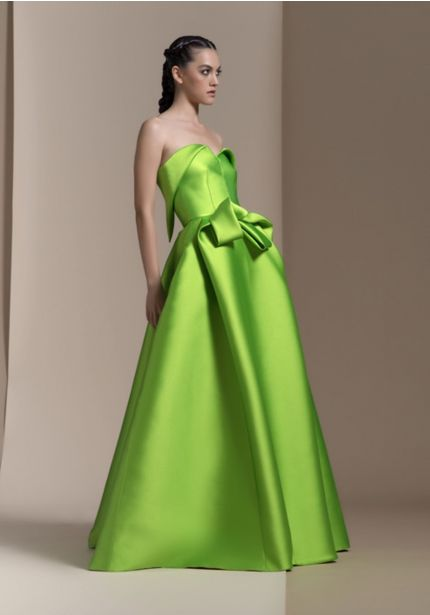 Draped Lime Ball Gown