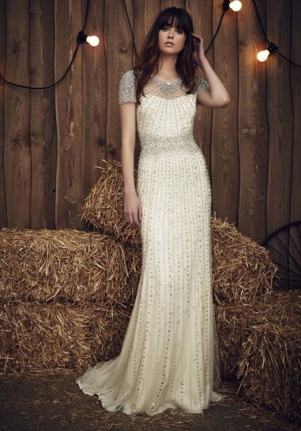 Heavily Embellished Column Wedding Dress
