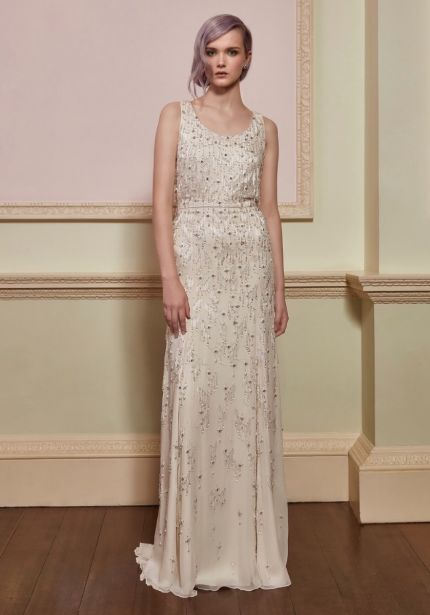 Beaded Column Wedding Dress