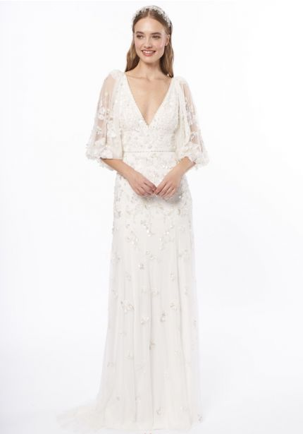 Embellished Flowers Wedding Dress