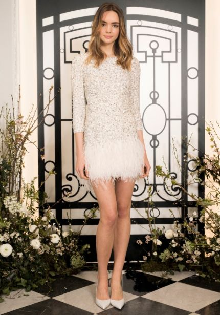 Embellished Ostrich Feathers Mini Dress
