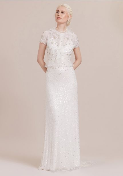 Heavily Beaded Short Sleeves Wedding Dress
