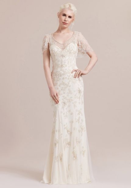 Heavily Beaded Column Wedding Dress