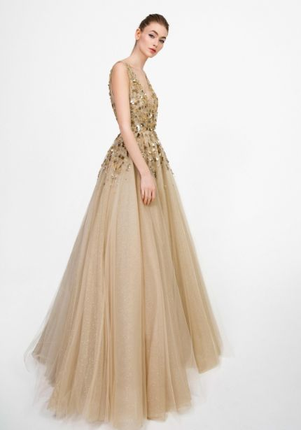 Gold Metallic Floral Glitter Tulle Gown