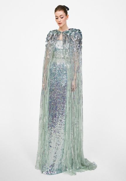 Aquamarine Sequined Tulle Gown