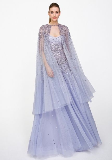 Heavily Beaded Tulle Gown with Cape