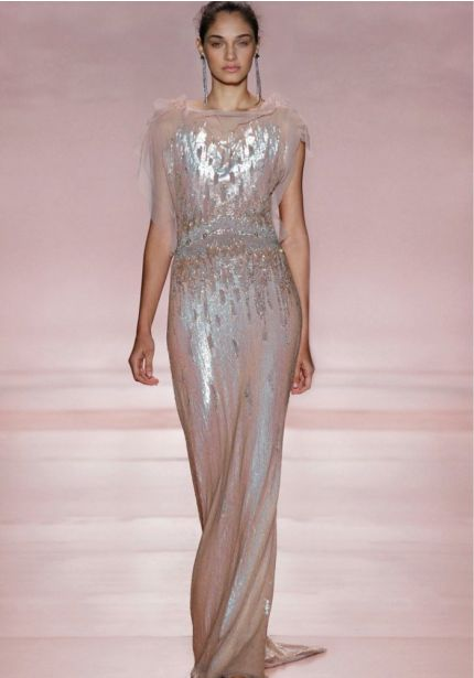 Sequined Blush Pink Evening Dress