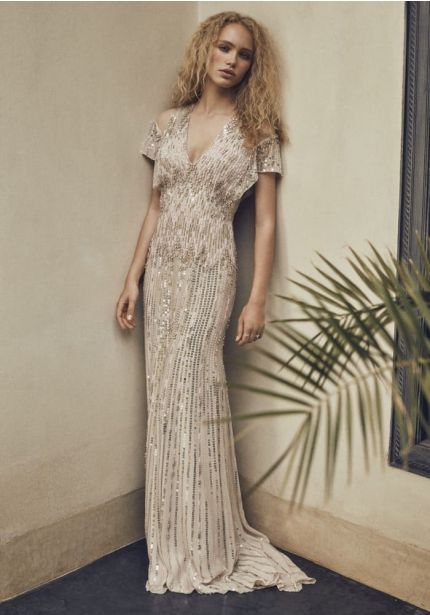 Beaded Column Wedding Dress with Cut-Out Sleeves