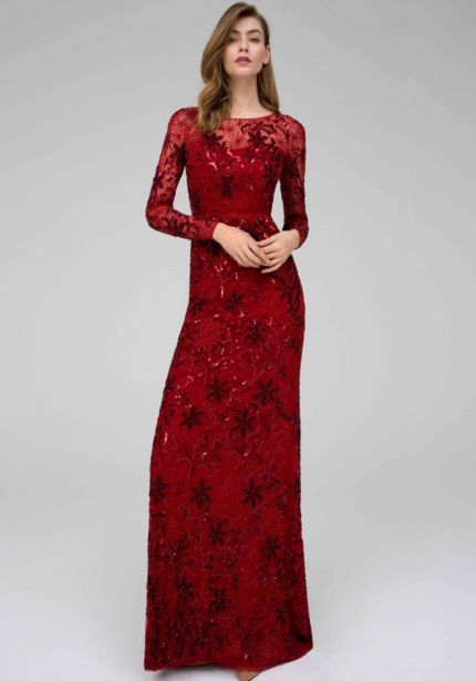 Embellished Long Sleeves Red Gown