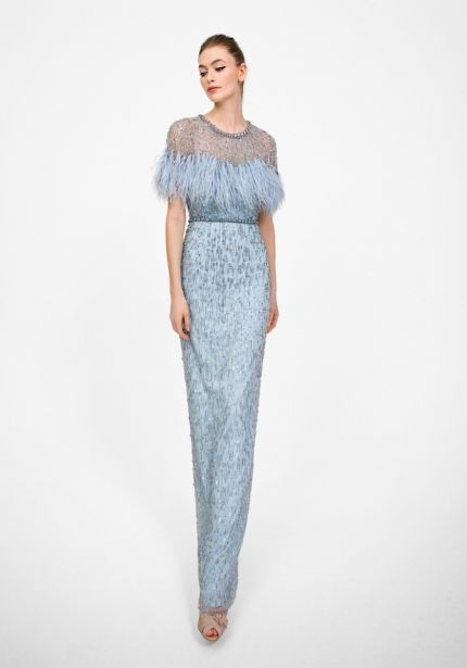 Embellished Powder Blue Sheath Gown