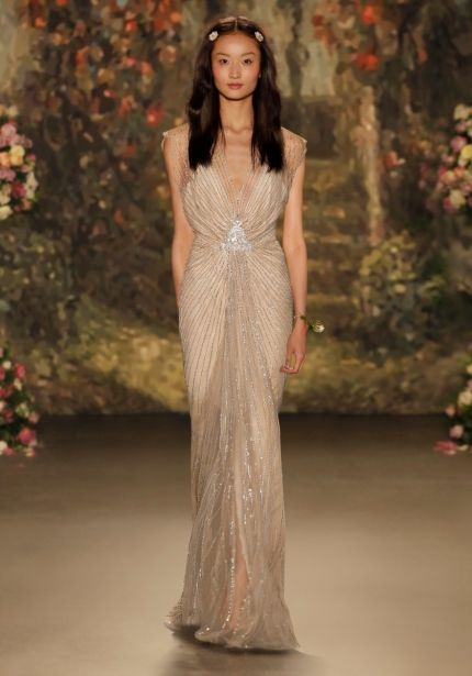 Sequined Plunging Neckline Wedding dress