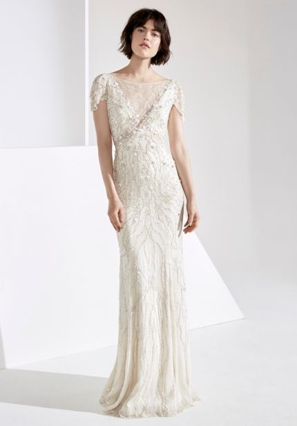 Beaded Silk Chiffon Wedding Dress