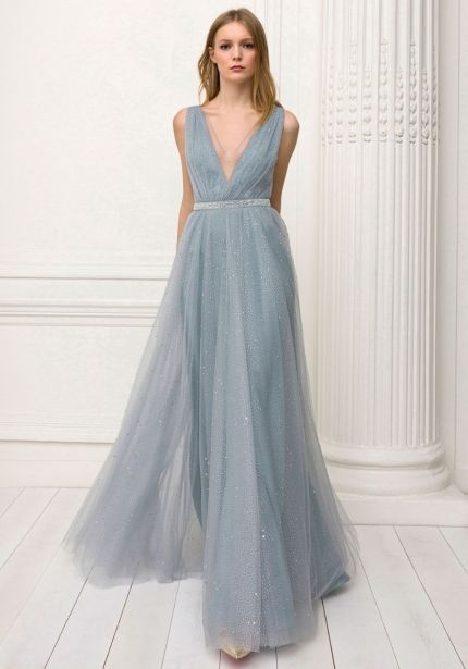 Beaded Glitter Tulle Flared Gown