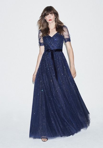 Embellished Glitter Tulle Gown