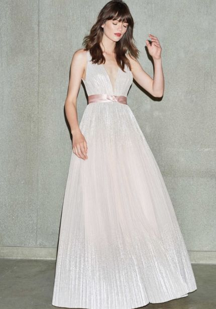 Rose Pink Pleated Ombré Gown
