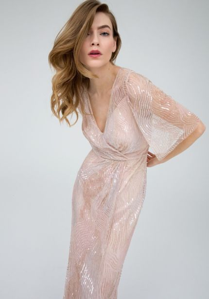 Heavily Beaded Pale Pink Evening Dress