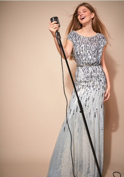Silver Sequin Embellished Gown