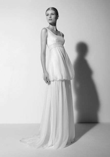 Chiffon Wedding Dress with Beaded Top