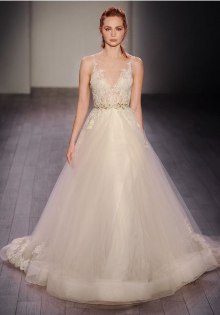 Illusion Neckline Princess Ball Gown in Tulle