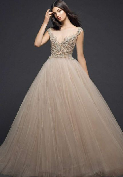 Illusion Neckline Princess Ball Gown in Nude