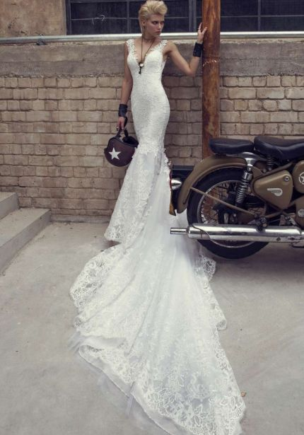V-Neck Mermaid Wedding Dress