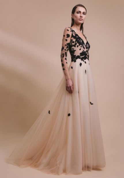 Embroidered Long Sleeves Tulle Gown