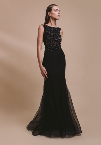 Embellished Black Tulle Gown