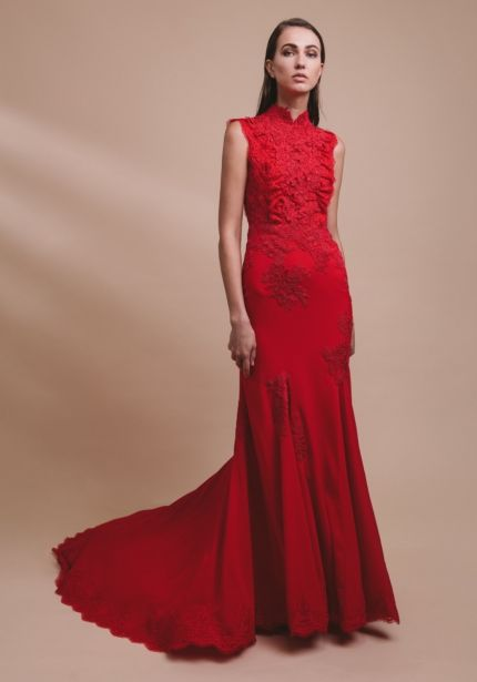 Embroidered Red Chiffon Gown