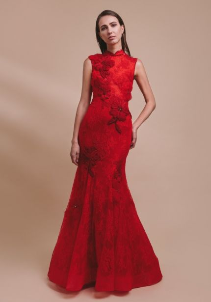 Embellished Flowers Red Lace Cheongsam