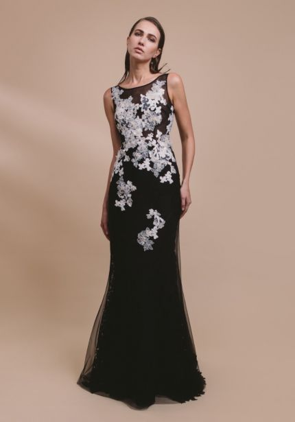 Beaded Flowers Black Tulle Gown