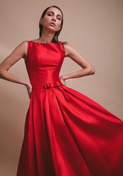 Red Mikado Ball Gown with Open Back