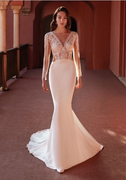 Embroidered Long Sleeves Crepe Wedding Dress