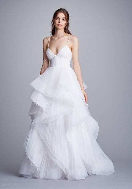 Ruffle Tulle Ball Gown with Straps